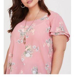 Torrid Pink Floral Flutter Sleeve Georgette Blouse